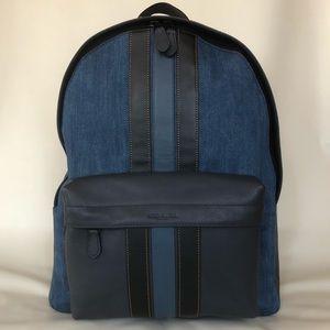 COACH Charles Denim and Black Leather Backpack
